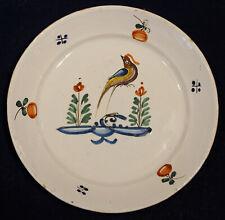 Assiette en faïence oiseau Lorraine Franche Comté fin18ème