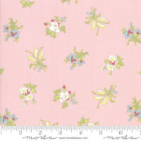 Bramble Cottage~BY 1/2 YD~MODA FABRIC~BRENDA RIDDLE~white flowers on pink~18691