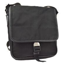 PRADA Cross Body Shoulder Bag Black Nylon Italy Vintage Authentic BT16378f