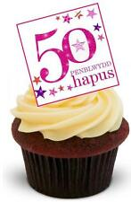 NOVELTY PENBLWYDD HAPUS 50 50th Fifty 12 STAND UP Edible Cake Toppers Birthday