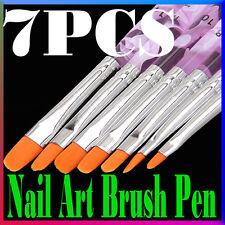 7Pcs Pro Acrylic UV Gel Painting Design Builder Salon Nail Art Pen Brushes Set