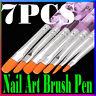 7Pcs Acrylic Nail Art Pen Tips UV Builder Gel Painting Brush Manicure Set Hot US