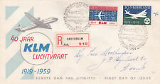 Netherlands 1959 40th anniversary of KLM Registered FDC VGC
