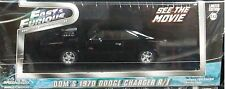 Fast & Furious Dom's 1970 Dodge Charger RT Diecast Car 1:43 Greenlight 5in Black