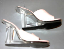 VINTAGE SKY BABY PINK LEATHER SLIP ONS WITH LUCITE HEEL-GORG-SIZE 7