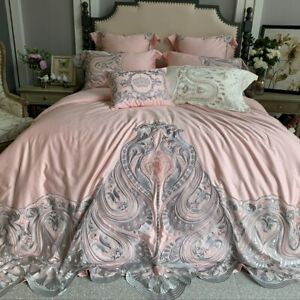 Pink White Egyptian Cotton Lace Embroidery Bedding Set Duvet Cover Linen Sheet