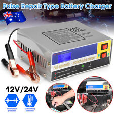 AU Car Battery Charger Automatic Intelligent Pulse Repair Type 12v/24v 100ah