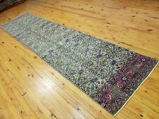 "Exquisite Antique 1930-1940's Wool Pile 2'4""×9'10 "" Muted Dye Bunyan Runner Rug"