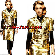 Dolce & Gabbana Gold Eel Skin Leather Short Sleeves Bolero  Jacket.