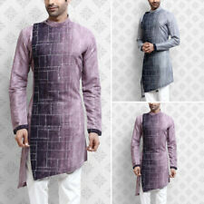 Men Indian Traditional Wear Long Sleeve Collarless Ethnic Party Kurta Shirt Tops