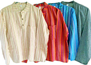 Striped Grandad Traditional Cotton Yoga Kurta Shirt| Long Sleeved Collarless