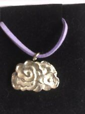 "Cluster Cloud TG260 Fine English Pewter On 18"" Purple Cord Necklace"