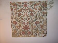 "Highland Court ""Climbing Roses"" embroidered floral remnant for craft cl red/jade"