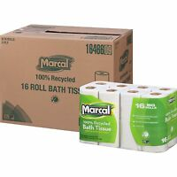 Marcal Bath Tissue 2-Ply 168 Sheets/Roll 16 Rolls/PK White 16466PK
