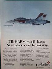 1985-88 PUB TEXAS INSTRUMENTS TI HARM MISSILE NAVAL AVIATION F-18 ORIGINAL AD