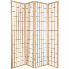 Legacy Decor 4 Panel Natural Room Divider Shoji Screen