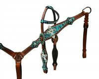 Showman One Ear TEAL Alligator Print Headstall and Breast Collar Set! HORSE TACK