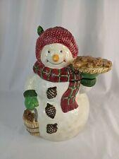 Vintage Snowman Cookie Jar Bico China Holding Giberbread Men *READ*