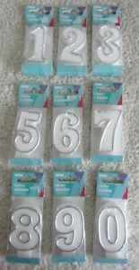 Number Candle 2-9** For Birthday Cake H 8cm White With Silver Edging Brand New