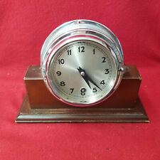 Antique Ships Clock With Wooden Base