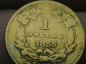 1855 O $1 Gold Liberty Head One Dollar Coin- Rare New Orleans