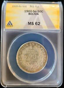 1900 So Bolivia Silver 50 Centavos 1/2 Boliviano ANACS MS62 KM#175.2 1 Year Type