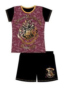 Girls Kids Harry Potter Shorts Pyjamas Hogwarts Short Sleeves 100% Cotton