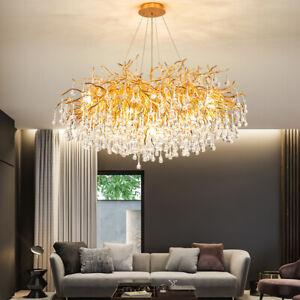 Round Oval LED luxury living room hanging light Villa Branch Crystal Chandelier