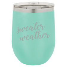 Stemless Wine Tumbler Coffee Travel Mug Cup Glass Sweater Weather