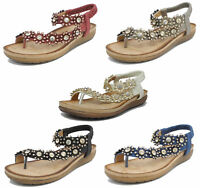 Womens Ladies Leather Look Toe Post Slingback Comfort Sandals Flower Jewels 3-9
