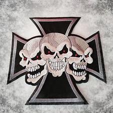 Chopper Cross,Iron Patch,XL,SEW-ON BACK PATCH ,3Skulls,Biker,Vest,aufbuegler