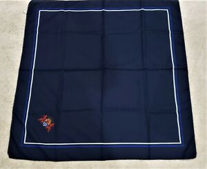 """Men's navy blue hand rolled pocket square w/lions coat of arms crest 30""""x30"""""""
