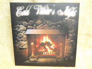 Cold Winters Night Lighted Canvas Wall Decor Sign Fireplace Fire Wood Beautiful!