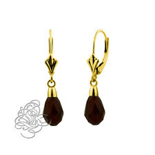 14k Yellow Gold Onix 9x6mm Garnet Crystal Pear Drop Leverback Earrings