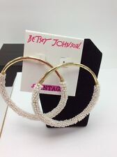 $50 Betsey Johnson I Dream Of Betsey Large Seed Bead Hoop Earrings BTW10