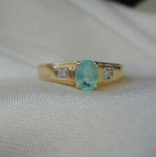 Genuine Brazilian Paraiba Tourmaline & Diamond Gold Ring
