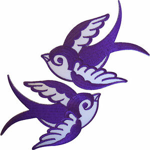 Pair Purple White Iron On Swallow Bird Patches Sew On Embroidered Patch Badge