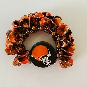Cleveland Browns Football - Themed Beaded Bracelet in Brown & Orange