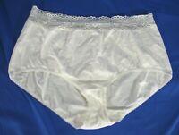 WACOAL Vintage 87535 COTTON SUEDE KNIT PANTIES White HIGH-WAIST w/Lace 9-XXL