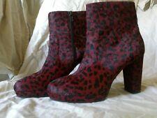 Eram Ysaline Leather Size 40 Burgundy Leopard Platform Ankle Boots, Brand New