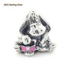 925 Sterling Silver Disne Park Eeyore Charm Pink Enamel Bead F European Bracelet