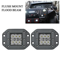 2Pcs 5in Flush Mount LED Work Light Flood Driving Pods SUV Offroad 4WD Truck ATV