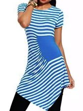 NWT eci New York X-Small XS Blue White Striped Short Sleeve Top Blouse