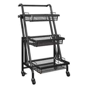 Krnova Adjustable Multi Purpose 3 Tray 4 Caster Wheel High Quality Black Trolley