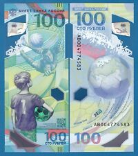 Russia 100 Rubles P New 2018 UNC Polymer World Cup FIFA Commemorative 1 Note