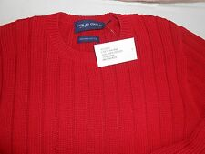 RALPH LAUREN POLO GOLF SIZE MEDIUM 100% PIMA COTTON RIBBED SWEATER IN RED