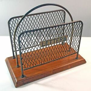 Antique Brass & Wooden Postal LETTERS Holder Desk Accessory