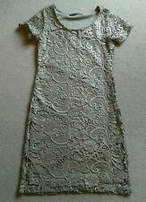 SEXY NEXT LIGHT BROWN GOLD CROCHET LACE FITTED SHIFT SHORT PARTY DRESS SIZE 10