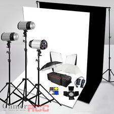 900W Lighting Flash Kit Photo Studio Black White Background Clip Backdrop Stand