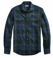 Ralph Lauren Purple Label Italy Black Watch Plaid Cashmere Flannel Shirt Jacket